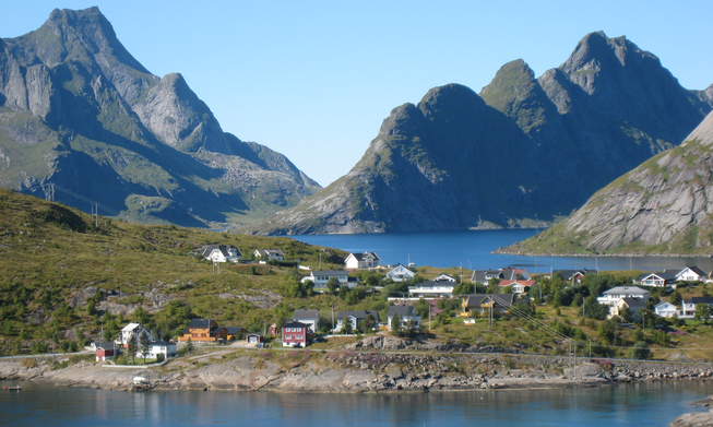 Landscape in Lofoten in the north of Norway