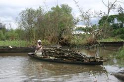 Woman in oil spill area, Warri, Nigeria dok res
